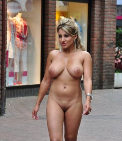 Big breasted woman naked in public